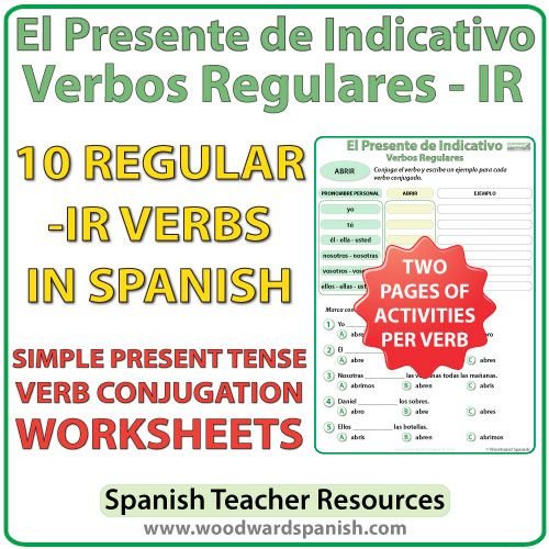 conjugation worksheets for 10 regular ir spanish verbs in the simple present tense. Black Bedroom Furniture Sets. Home Design Ideas