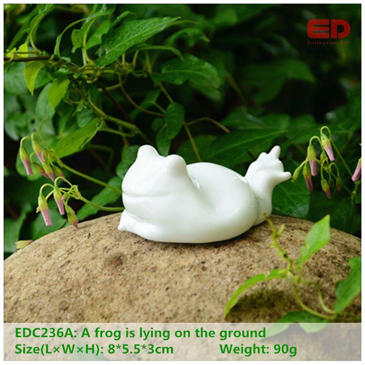 ED original quality design folk art cute  ceramic/porcelain frog home animal garden ornament wedding decoration gift