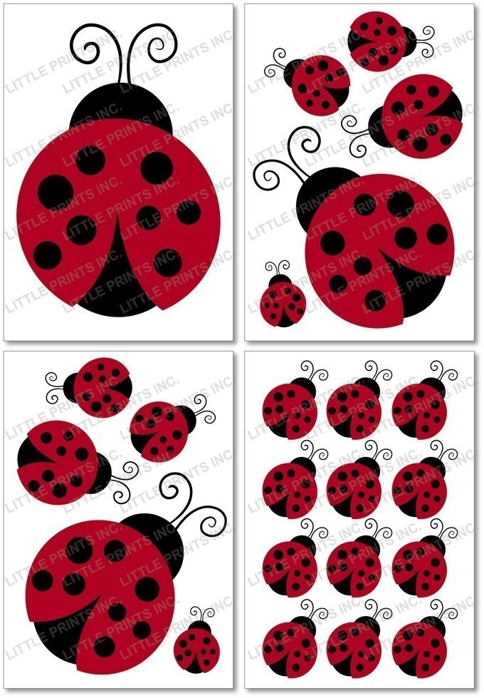 ladybug wall decals | Red Ladybug Nursery Wall Stickers Decals by LittlePrintsParties