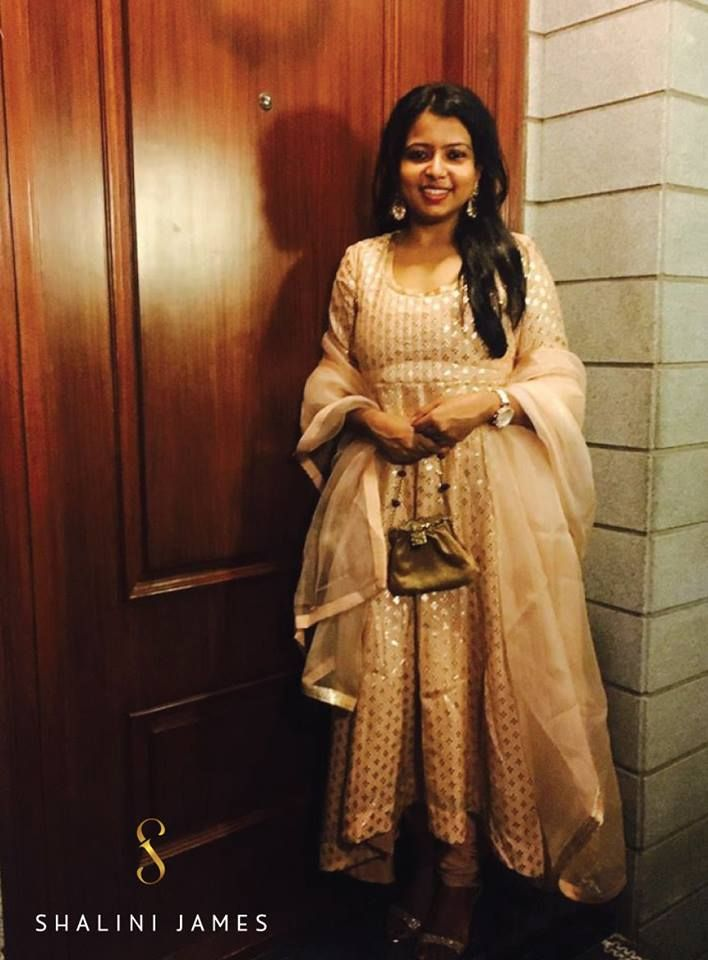 Here's super-talented, professional baker, Nikita looking absolutely lovely in a shimmering old rose anarkali from our 'Jahanara' line!   #Jahanara #ShaliniJames