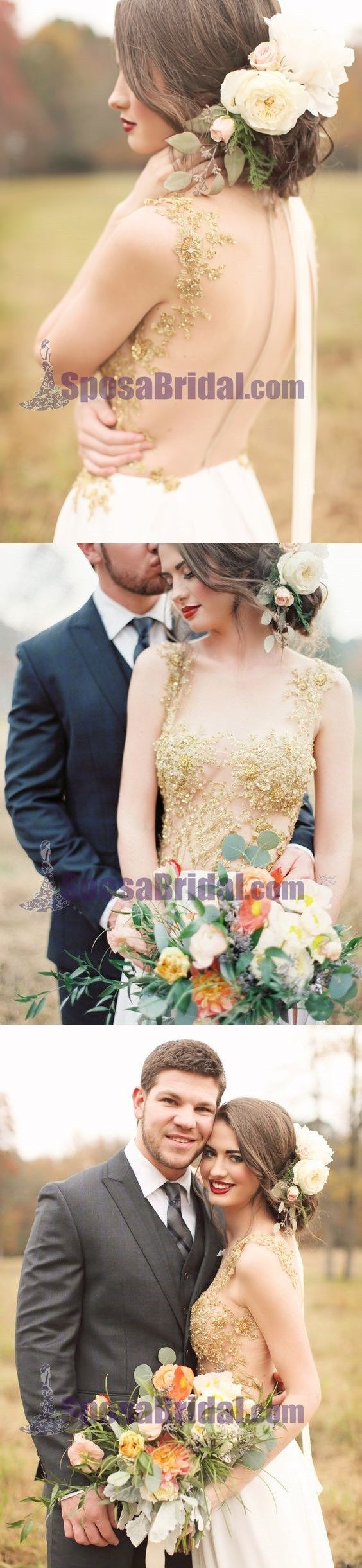 Custom Long Gold Stunning Chiffon Soft Side Split Pretty Wedding dresses, Bridals Dress, PD0614