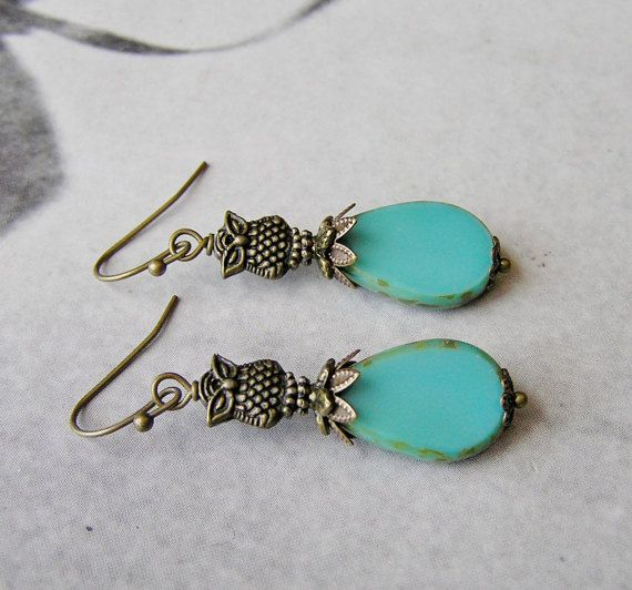 Turquoise Earrings Green Earrings Owl Earrings by SmockandStone