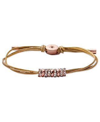 Fossil Bracelet, Rose Gold-Tone Glitz Rondelle Yellow Adjustable Bracelet - Fashion Bracelets - Jewelry & Watches - Macy's