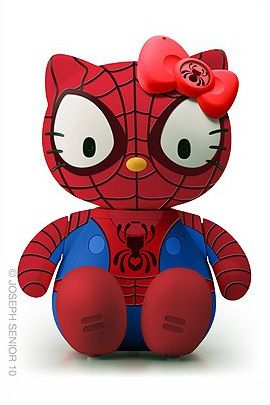 Hello Kitty as Spiderman ~ Love it! ~ 50 Hello Kitty Model Crossover by Joseph Senior | The Design Inspiration