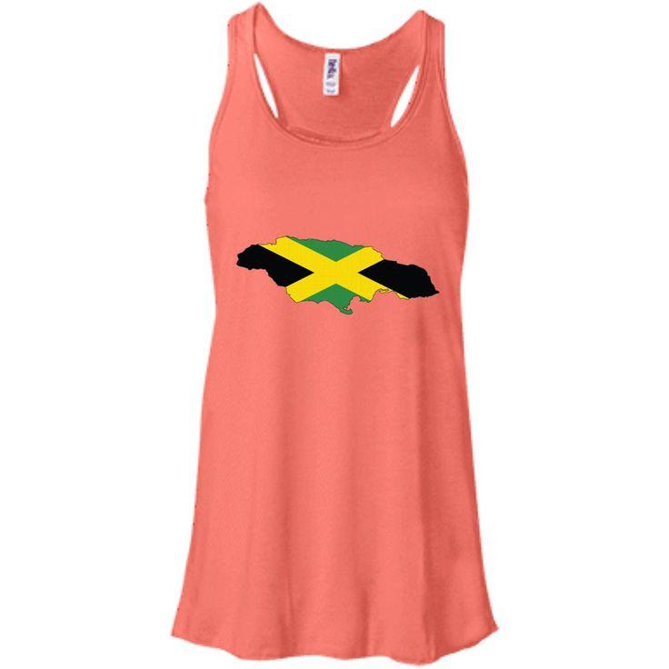 Jamaica flag-01 B8800 Bella + Canvas Flowy Racerback Tank