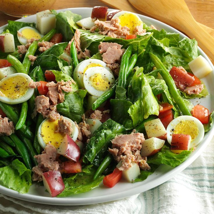 Quick Nicoise Salad Recipe -Like the classic French salad Nicoise, I pack my salad with veggies, potato, tuna and eggs. Cooking the potato and beans together helps build it fast. —Valerie Belley, St. Louis, Missouri