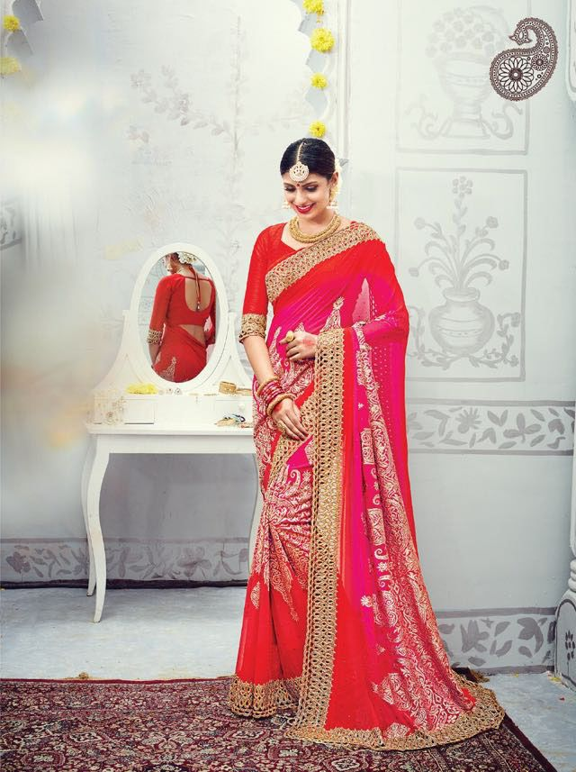 Red & Pink Pure Georgette Saree with Heavy Work Border and Melbourne Silk Blouse #Drezzling #GeorgetteSaree