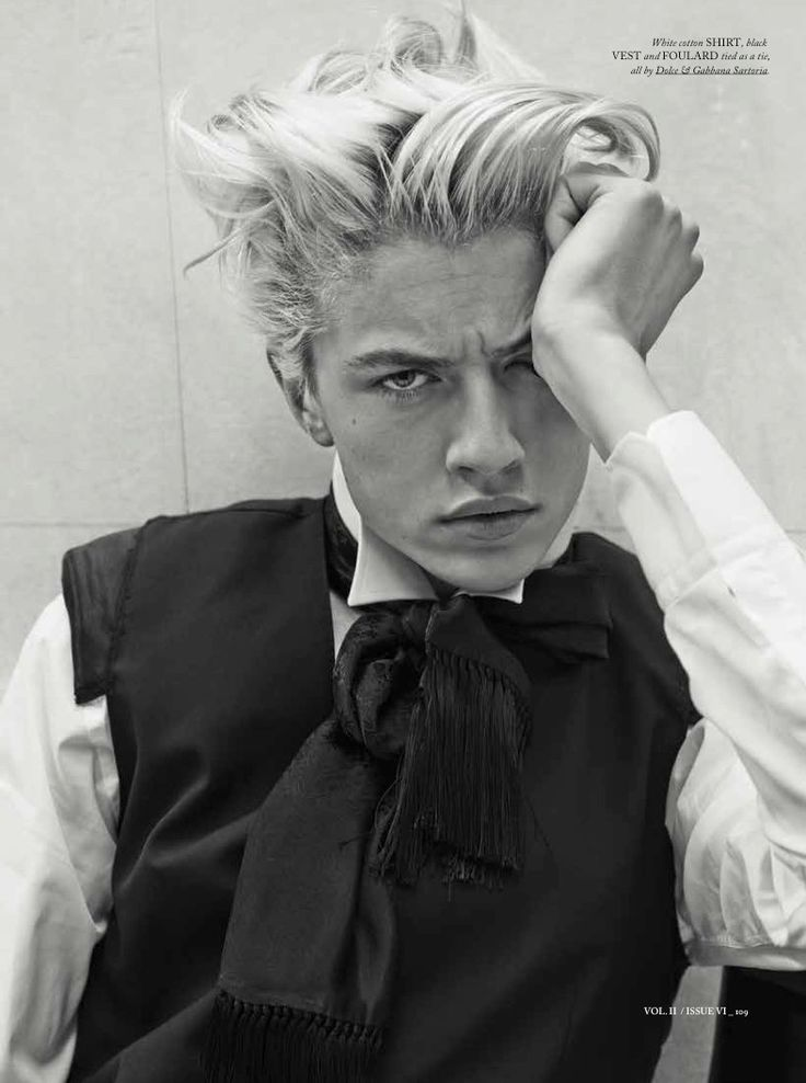 Lucky Blue Smith photographed by Giampaolo Sgura wearing Dolce & Gabbana Sartoria by Miguel Arnau.
