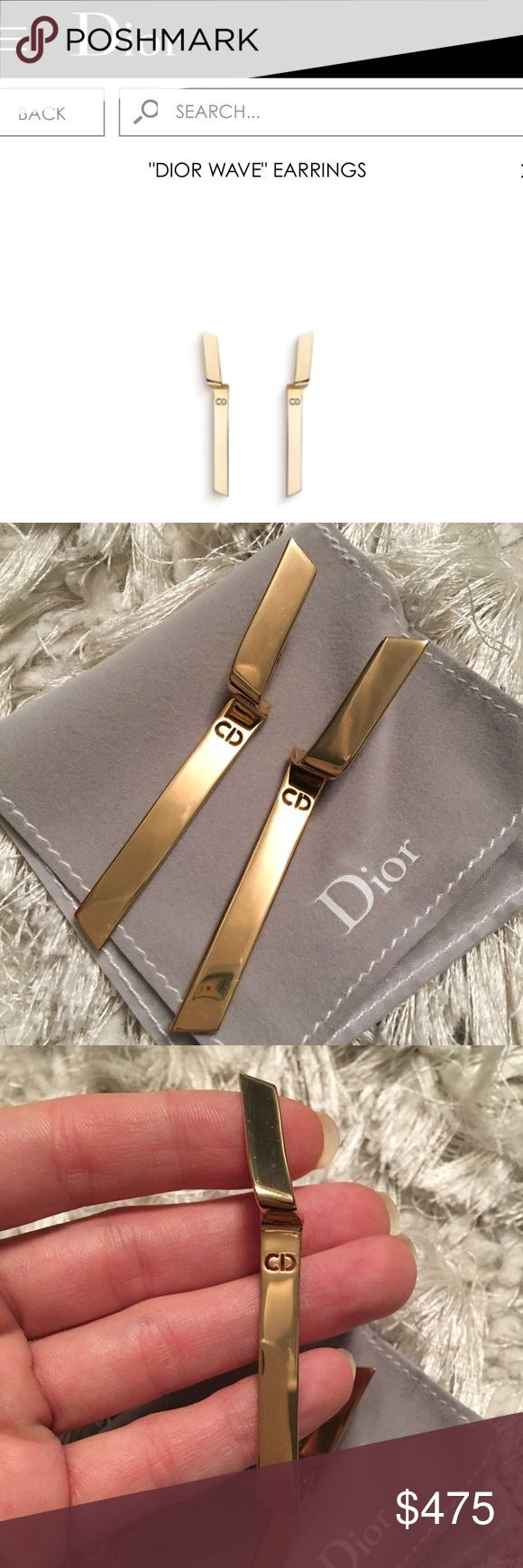 """In Stores DIOR """"Wave"""" Gold Drop Logo Earrings In Stores Now! Authentic DIOR """"Wave"""" Earrings. These are only avail in boutiques. Gorgeous sleek drop flexible design. The post sits down so it allows it to crawl up the ear.  These are very good condition. Minimal signs of use. Comes with box and dust bag. Drop is about 2.4"""" Dior Jewelry Earrings"""