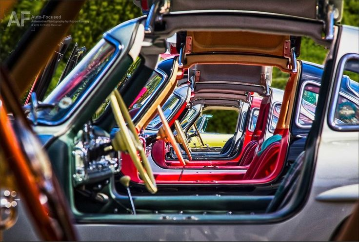 A display of 1954 Mercedes 300SL Gullwings