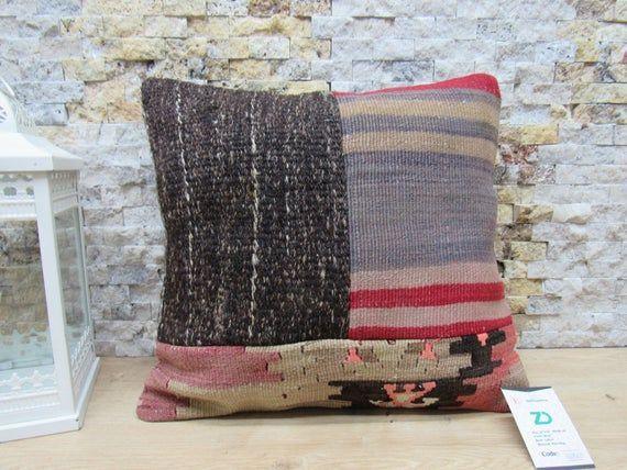 Kelim Kissen Pillow 16x16 Kilim Bolster Pillow Rustic Pillow Boho