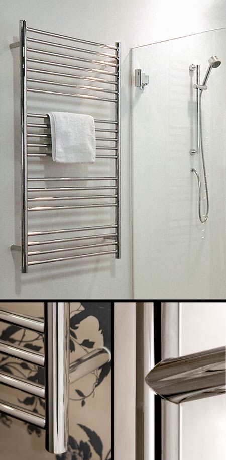 polished stainless steel heated towel rail 57c