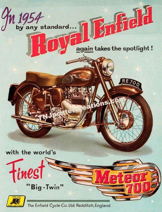 1954 royal Enfield Meteor 700 Big Twin moto affiche promotionnelle