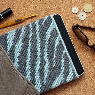 Opskrift på iPad sleeve, zebra/ fra Yarnfreak