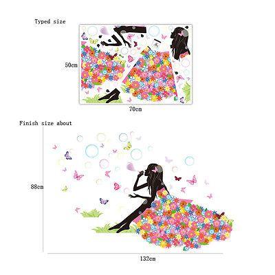 Цветочные Девушка Мыльные Пузыри Бабочки Стикер Стены Виниловые Наклейки Дома Настенной Росписи Декора купить на AliExpress