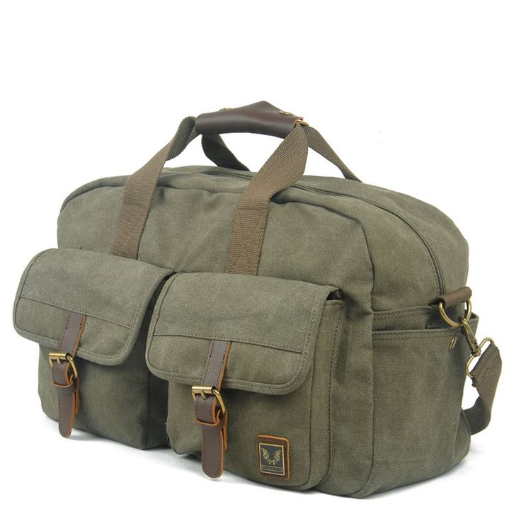 48.54$  Buy now - http://alip25.worldwells.pw/go.php?t=32647738822 - Vintage Retro Military Canvas Leather Men Travel Bags Luggage Bags Men Bags Leather Canvas Bag Tote Sacoche Homme Marque 48.54$