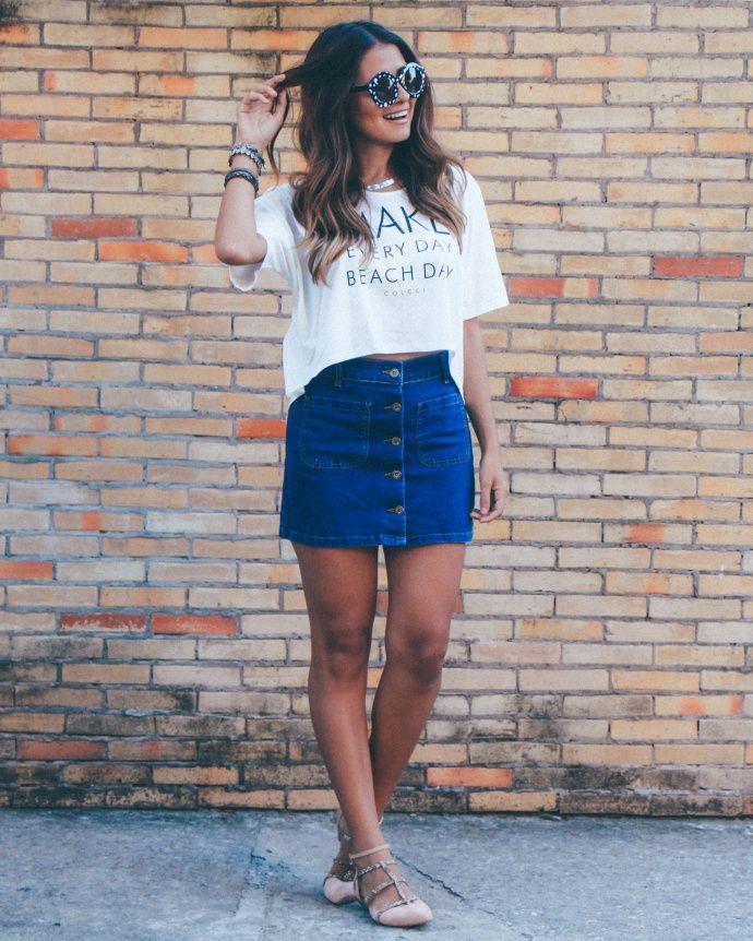 saia jeans com botões na frente                                                                                                                                                      Mais