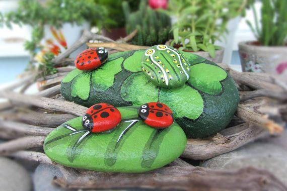 Ladybird & frog 2 piece decorative art by CanitinLivingStones