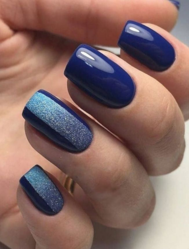 15 Nail Acrylic Short Dark Blue Nail Designs Blue Glitter Nails Navy Blue Nails