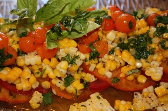 Heirloom Tomatoes with Corn and Basil