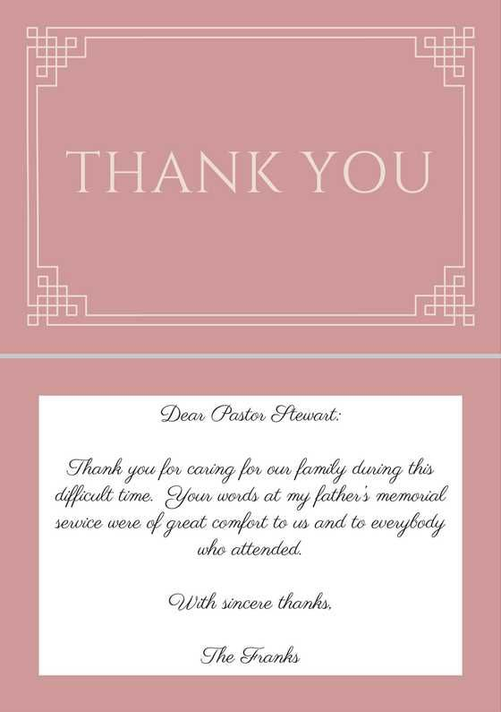 sample Thank You Note to Pastor After Funeral