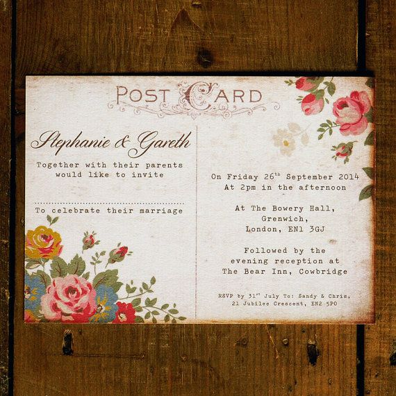 Shabby Chic Floral Illustrations Postcard Wedding Invitation & Save the Date - DIY Printable Option on Etsy, $2.47