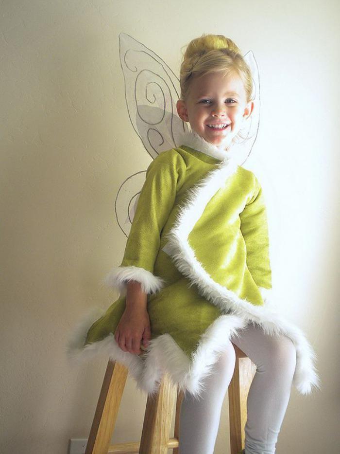 déguisement fée clochette, robe d'hiver , déguisement de la fée Clochette