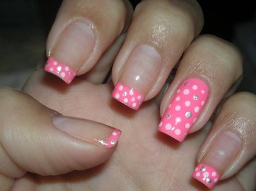 Easy free hand nail art, bright pink french tips with white polka dots, solid accent nail with white polka dots with clear crystal accents     30 Trendy Nail Art