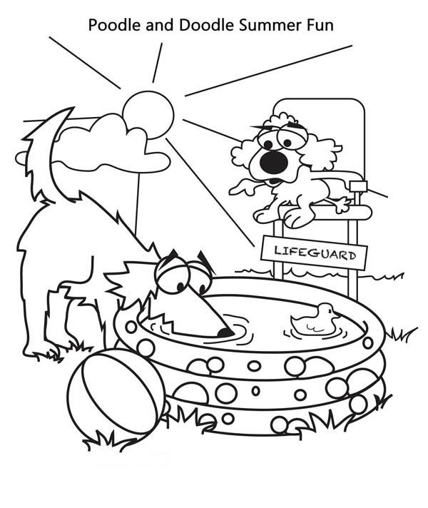 Dog Poodle And Doodle Summer Vacation Coloring Page