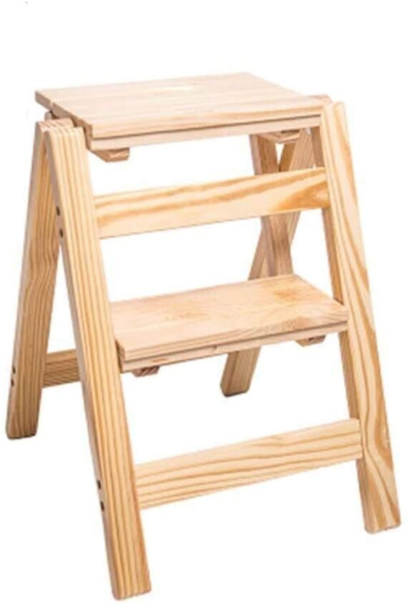 2 Step Ladder Folding Step Stool 2 Step Ladders Wooden Portable Foldable Step Stool Lightweight Multifunction L In 2020 Folding Step Stool Step Stool Wooden Step Stool