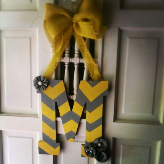 Chevron pattern initial door hanger - gray and yellow chevron, burlap and chevron initial hanger, monogram door decor, shabby chic #handmade #shopsmall