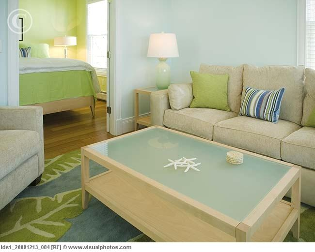 Light and airy green and blue living room