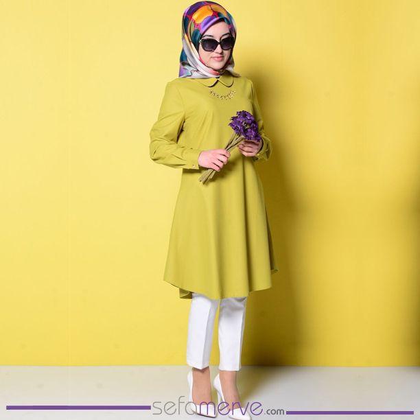 Kolye Detaylı Tunik 5220-01 Fıstık Yeşil  #sefamerve #tesetturgiyim #tesettur #hijab #tesettür