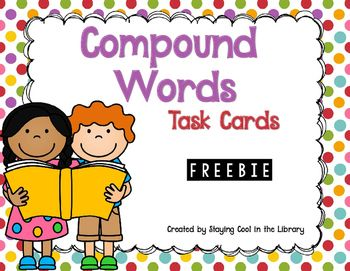 Compound Words {Freebie}.  Review compounds words with your students with this freebie. There are 12 sets of compound word cards.