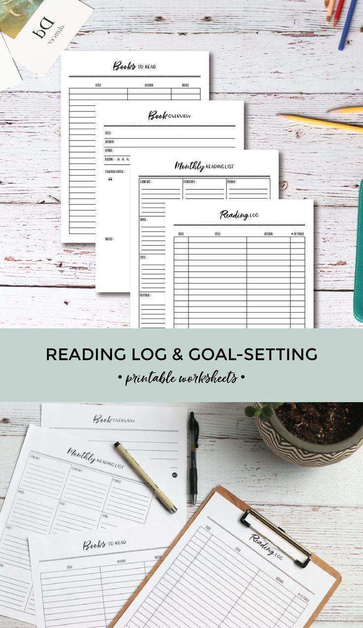 Printable Reading Log Goal Setting Worksheets Reading Log Printable Reading Journal Printable Reading Logs [ 1274 x 736 Pixel ]