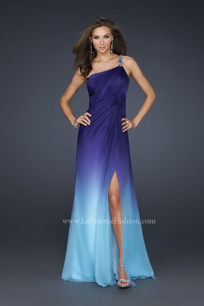 Blue And Purple Dresses La Femme 17172 Ombre One