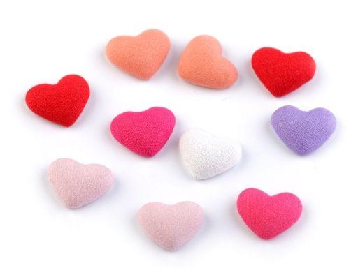 Látkové ozdoby srdce 15x18 mm k nalepeniu