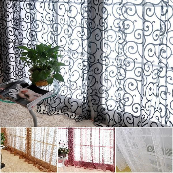 Floral Tulle Voile Door Window Curtain Drape Panel Sheer ...