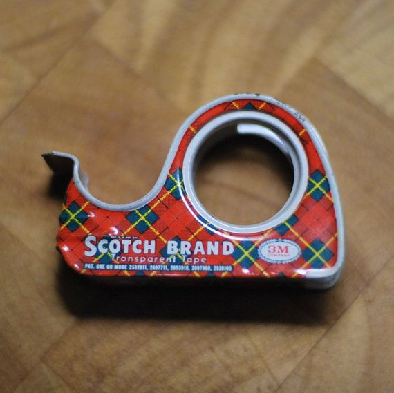Vintage 3M Scotch Tape Roll Dispenser with Plaid Design - 1960s, Cellophane Tape, Transparent Tape, Gift Wrap, Christmas display