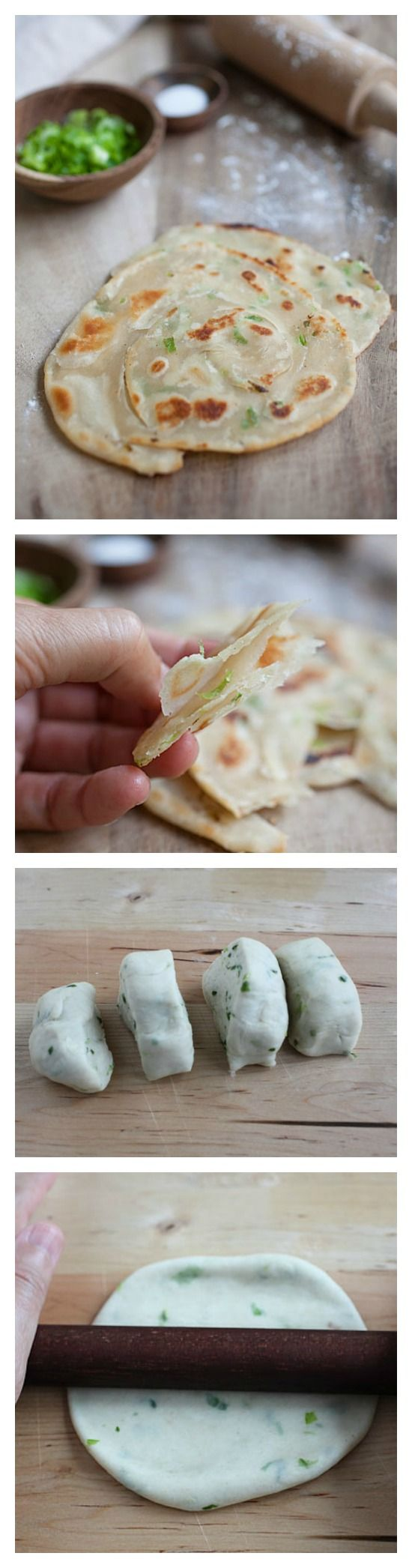 Scallion Pancake Recipe. 3 ingredients and so easy to make. Scallion pancake is healthy and delicious, make it today | http://rasamalaysia.com