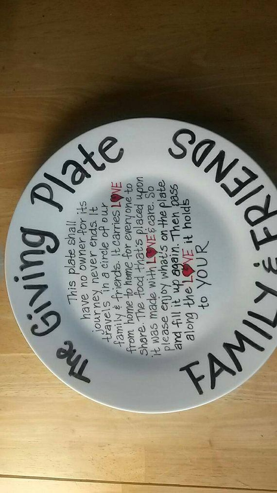 This plate encourages you to share with your family and friends. Plate measures 10.5 inches. Celebrate any occasion with my hand painted personalized ceramic plates.  Any message can be put on the plate, just convo me.    I use Pebeo Porcelaine 150 paint that is heat set in an oven so it is safe for the dishwasher and common detergents, but HAND WASHING IS RECOMMENDED. Although it is NON-TOXIC and food safe it is not recommended to come in contact with cutlery. Small bubbles in the paint are…