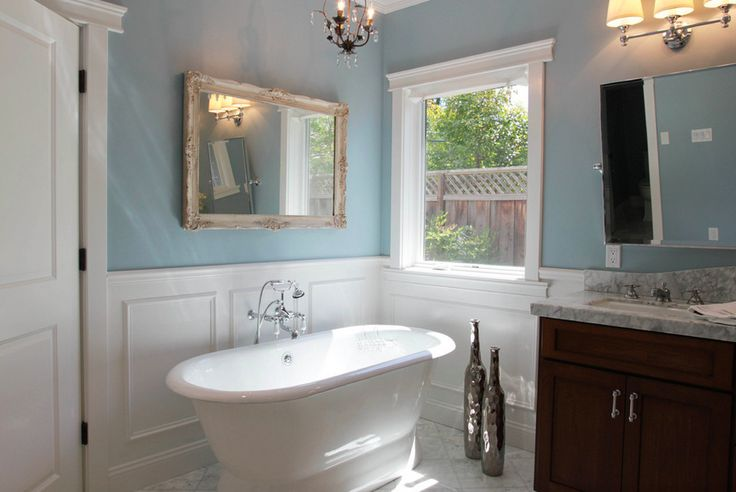 Bathroom Painting Wainscoting Chair Rail Paneling Blue