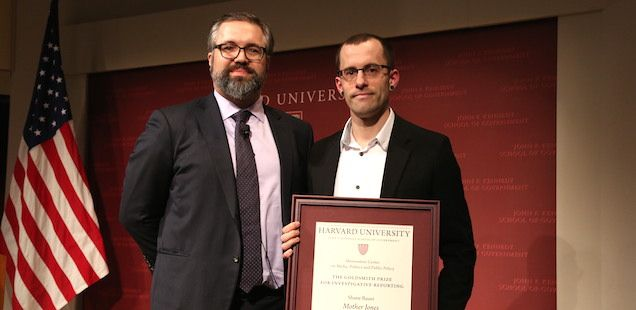 """Cambridge, MA — The $25,000 Goldsmith Prize for Investigative Reporting from the Shorenstein Center on Media, Politics and Public Policy at Harvard Kennedy School has been awarded to Shane Bauer of Mother Jones for his investigative report """"My Four Months..."""