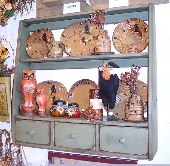 Primitive Plate Rack with 3 Drawers w Open Back - Color Choice - FREE SHIPPING on Etsy, $119.99