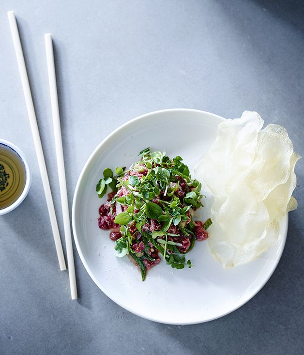 Anchovy chef Thi Le's beef tartare with herbs and nuoc cham :: Gourmet Traveller
