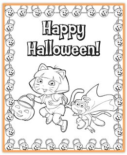 free dora printable halloween coloring page jinxy kids - Colouring Sheets For Toddlers