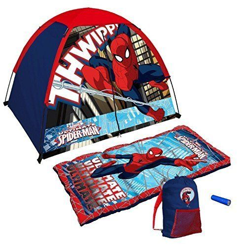 Marvel Ultimate Spiderman 4 Piece Kids Camp Kit - Indoor / Outdoor Play Tent Sleeping Bag Carry Sa @ niftywarehouse.com #NiftyWarehouse #Spiderman #Marvel #ComicBooks #TheAvengers #Avengers #Comics