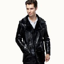 100% Guaranteed Real Leather Coat Men's Sheepskin Fur Wool Clothing Patent Genuine Leather Outwear Winter Medium-long Overcoat