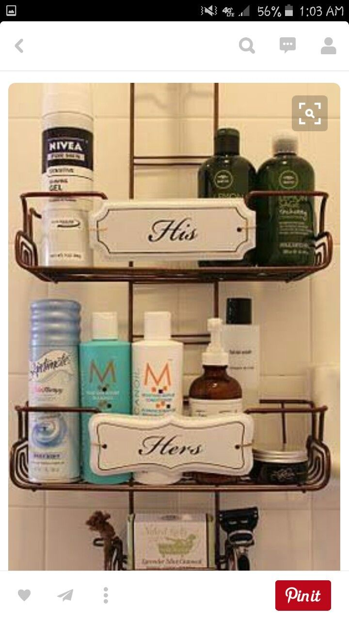 crazy in love with the His/Hers shower caddy. Caddy was purchased  separately from signs. His/Her signs purchased at Pottery Barn & attached  after. such a ...