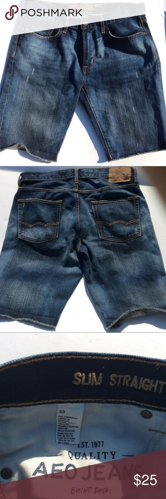 AEO denim slim straight shorts AEO denim slim straight shorts. Slightly distressed style with fray ends. In perfect condition. American Eagle Outfitters Shorts Jean Shorts
